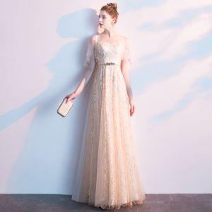 Charmant Champagne Robe De Soirée 2019 Princesse Encolure Carrée Paillettes Ceinture Manches Courtes Dos Nu Longue Robe De Ceremonie
