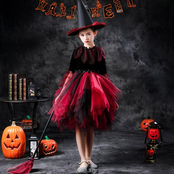 Halloween Cosplay Rode Bloemenmeisjes Jurken 2020 Baljurk Ronde Hals Lange Mouwen Appliques Kant Pailletten Knielengte Cascading Ruches