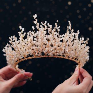 Luxus / Herrlich Gold Diadem 2019 Metall Kristall Perlenstickerei Haarschmuck Braut