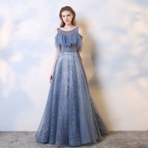 Charming Ocean Blue Evening Dresses  2019 A-Line / Princess Scoop Neck Beading Crystal Sequins Short Sleeve Backless Sweep Train Formal Dresses