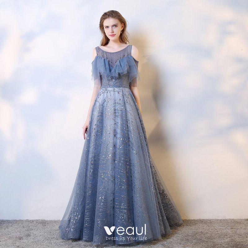dd1b14b0c5cce Charming Ocean Blue Evening Dresses 2019 A-Line / Princess Scoop Neck  Beading Crystal Sequins Short Sleeve Backless Sweep Train Formal Dresses