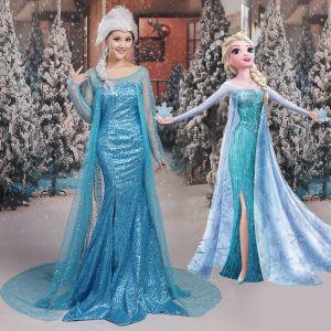 Frozen Film Kostüm Himmelblau Abendkleider 2017 Mermaid U-Ausschnitt Tülle Rückenfreies Perlenstickerei Pailletten Abend Festliche Kleider