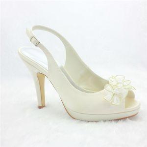 Elegant Ivory Brautschuhe Satin Stilettos Sandalen Slingbacks Mit Blume