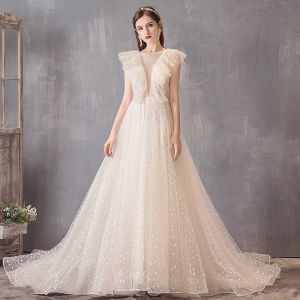 Elegant Champagne Wedding Dresses 2019 A-Line / Princess Square Neckline Spotted Sleeveless Backless Court Train