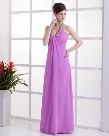 Ruffle V Neck Chiffon Floor Length Evening Party Dresses