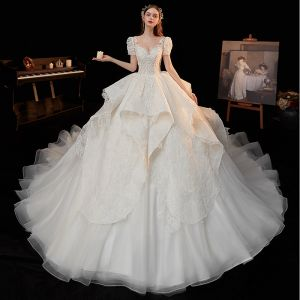 Vintage / Retro Ivory Bridal Wedding Dresses 2020 Ball Gown See-through Scoop Neck Puffy Short Sleeve Backless Appliques Lace Beading Cathedral Train Ruffle