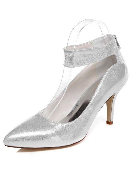 85f4a01ff4f Sprankelende Zilveren Bruidsschoenen Stiletto Hakken Trouwschoenen Glitter  Pumps Met Enkelbandje