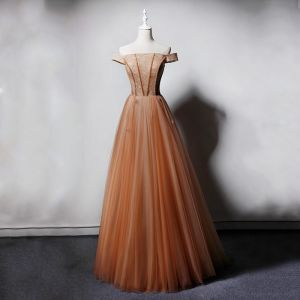 Chic / Beautiful Champagne Evening Dresses  2019 Princess Off-The-Shoulder Short Sleeve Beading Floor-Length / Long Ruffle Backless Formal Dresses