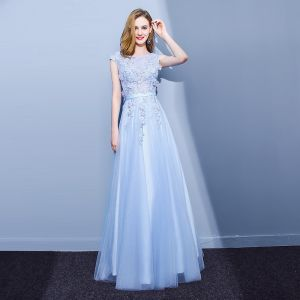 Elegant Sky Blue Evening Dresses  2018 A-Line / Princess Lace Flower Appliques Beading Pearl Scoop Neck Backless Sleeveless Floor-Length / Long Formal Dresses