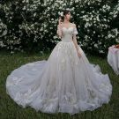 High-end Champagne Wedding Dresses 2019 A-Line / Princess Off-The-Shoulder Beading Lace Flower Short Sleeve Backless Cathedral Train