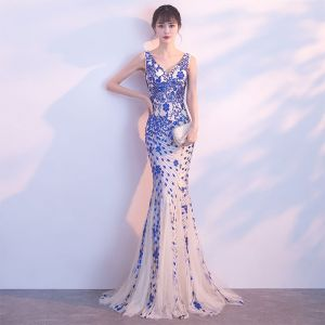 Chic / Beautiful Evening Dresses  2017 Trumpet / Mermaid Lace Sequins Backless V-Neck Sleeveless Floor-Length / Long Formal Dresses