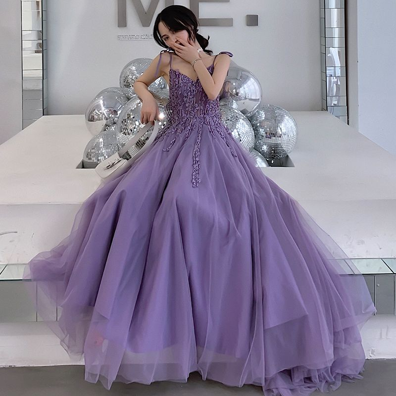 Affordable Lavender Evening Dresses  2019 A-Line / Princess V-Neck Sleeveless Appliques Lace Sweep Train Ruffle Backless Formal Dresses