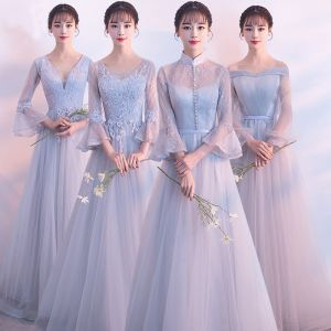 Elegant Grey See-through Bridesmaid Dresses 2018 A-Line / Princess Long Sleeve Appliques Lace Floor-Length / Long Ruffle Backless Wedding Party Dresses