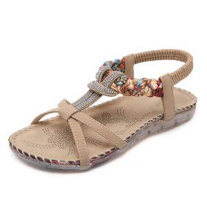 Bohemia Roman Beige Beach Slipper & Flip flops 2020 Rhinestone Open / Peep Toe Flat Womens Shoes