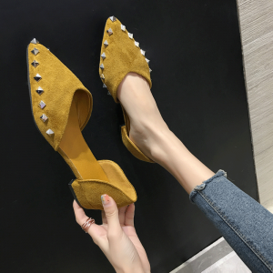 Affordable Yellow Casual Suede Rivet Womens Shoes 2020 Pointed Toe Flat Sandals