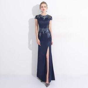 Chic / Beautiful Split Front Evening Dresses  2017 Trumpet / Mermaid Lace Flower Crystal Scoop Neck Short Sleeve Ankle Length Formal Dresses