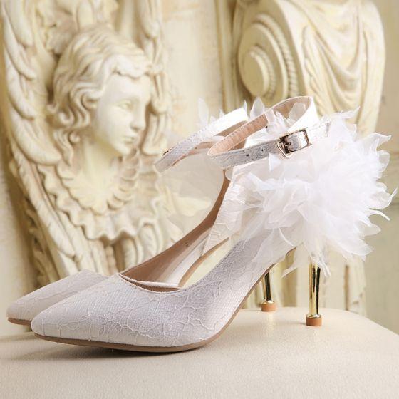 Hermoso 2017 8 cm / 3 inch Blanco Rojo Casual Cuero Rojo Bordado Plisado High Heels Stilettos / Tacones De Aguja Tacones Zapatos de novia