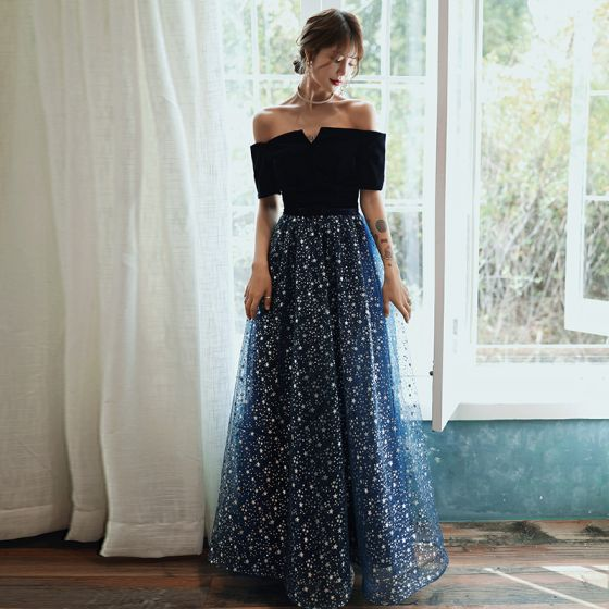 Uroczy Granatowe Gwiazda Sukienki Wieczorowe 2020 Princessa Zamszowe Przy Ramieniu Kokarda Kótkie Rękawy Bez Pleców Długie Sukienki Wizytowe