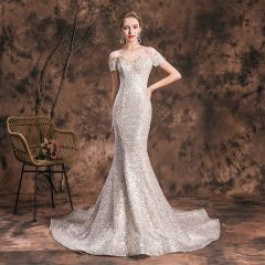 Sparkly Champagne Evening Dresses  2019 Trumpet / Mermaid Scoop Neck Glitter Lace Flower Sequins Short Sleeve Backless Chapel Train Formal Dresses
