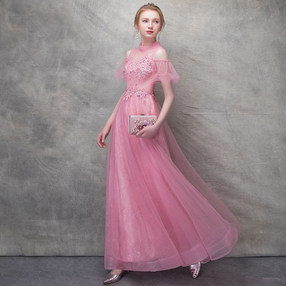 Chic / Beautiful Candy Pink Evening Dresses  2017 A-Line / Princess Lace Flower Pearl Artificial Flowers Sequins Backless High Neck Short Sleeve Ankle Length Formal Dresses
