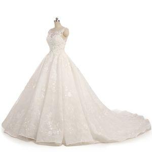 Unique Champagner Brautkleider 2017 Ballkleid Spitze Blumen Herz-Ausschnitt Rückenfreies Ärmellos Lange Hochzeit