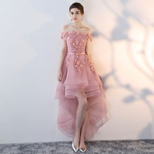 Affordable Candy Pink Cocktail Dresses 2019 A-Line / Princess Off-The-Shoulder Short Sleeve Appliques Lace Pearl Sash Asymmetrical Ruffle Backless Formal Dresses