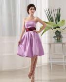 Knee Length Strapless Neckline Sleeveless Pleated Satin A-Line Bridesmaid Dress