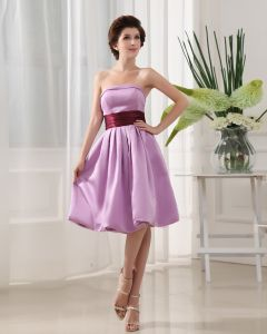 Knee Length Strapless Neckline Sleeveless Pleated Satin A-Line Bridesmaid Dress