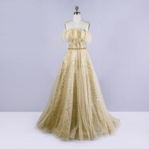 Chic / Beautiful Gold Prom Dresses 2020 A-Line / Princess Strapless Sleeveless Beading Sequins Sweep Train Ruffle Backless Formal Dresses