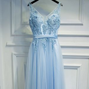 Elegant Sky Blue Bridesmaid Dresses 2017 A-Line / Princess Lace Flower Beading Backless V-Neck Sleeveless Ankle Length Wedding Party Dresses