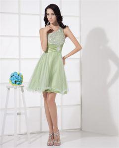 Organza Ruffle Beading Ornament Prom Dresses