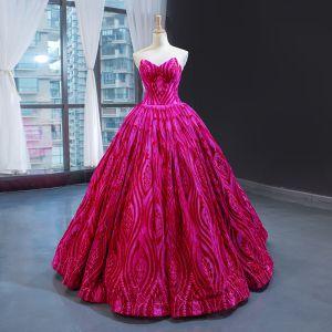 Luksusowe Fuksja Taniec Sukienki Na Bal 2020 Suknia Balowa Kochanie Bez Rękawów Aplikacje Z Koronki Frezowanie Długie Wzburzyć Bez Pleców Sukienki Wizytowe