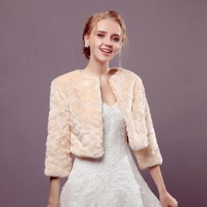 Champagne Winter U-Neck 3/4 Sleeve Faux Fur Wedding Evening Party Prom Coats / Jackets 2017