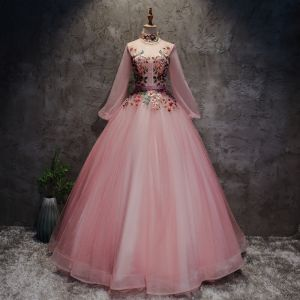 Chinese style Blushing Pink Prom Dresses 2017 Ball Gown High Neck Long Sleeve Appliques Flower Pearl Sash Floor-Length / Long Ruffle Backless Formal Dresses