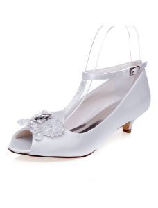 Beautiful White Wedding Shoes 2 Inch Kitten Heels Pumps Satin Bridal Shoes