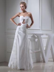 2015 Einzigartige Hüllen-schatz Trägerlose Gefaltete Spitze Brautkleid