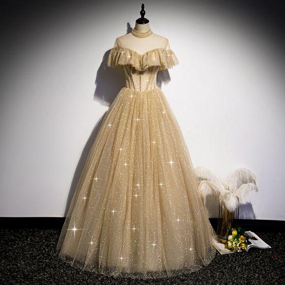 Vintage Szampan Złote Taniec Sukienki Na Bal 2020 Princessa Przezroczyste Wysokiej Szyi Frezowanie Kótkie Rękawy Cekinami Tiulowe Długie Wzburzyć Bez Pleców Sukienki Wizytowe