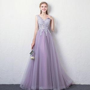 Charmant Lavande Robe De Soirée 2018 Princesse V-Cou Sans Manches Appliques En Dentelle Faux Diamant Longue Volants Dos Nu Robe De Ceremonie