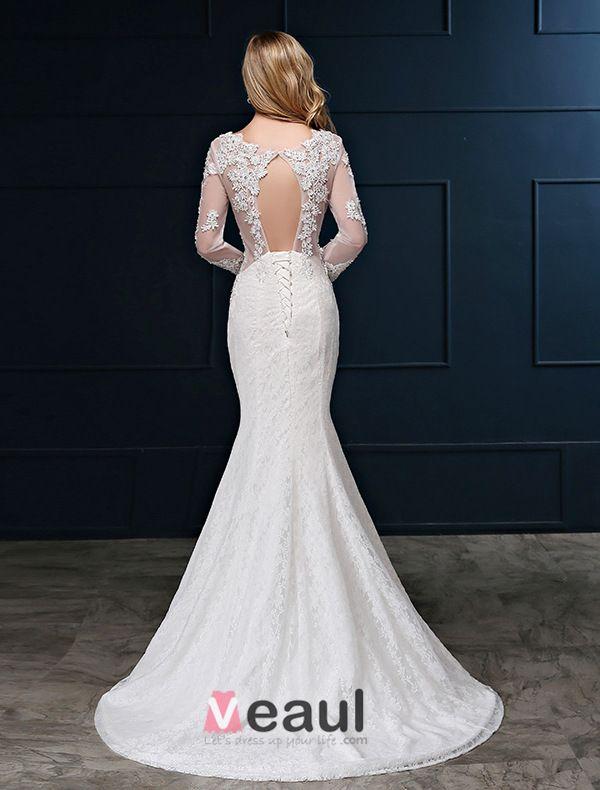 Mermaid Brautkleid Quadratischen Ausschnitt Langen Ärmeln Bohrten Spitze Hochzeitskleid