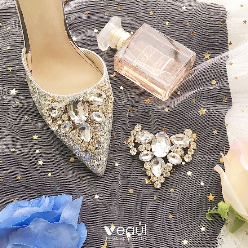 Charming Silver Bridesmaid Wedding High Heels 2019 Ankle Strap Sequins Rhinestone 8 cm Stiletto Heels Pointed Toe Wedding Shoes