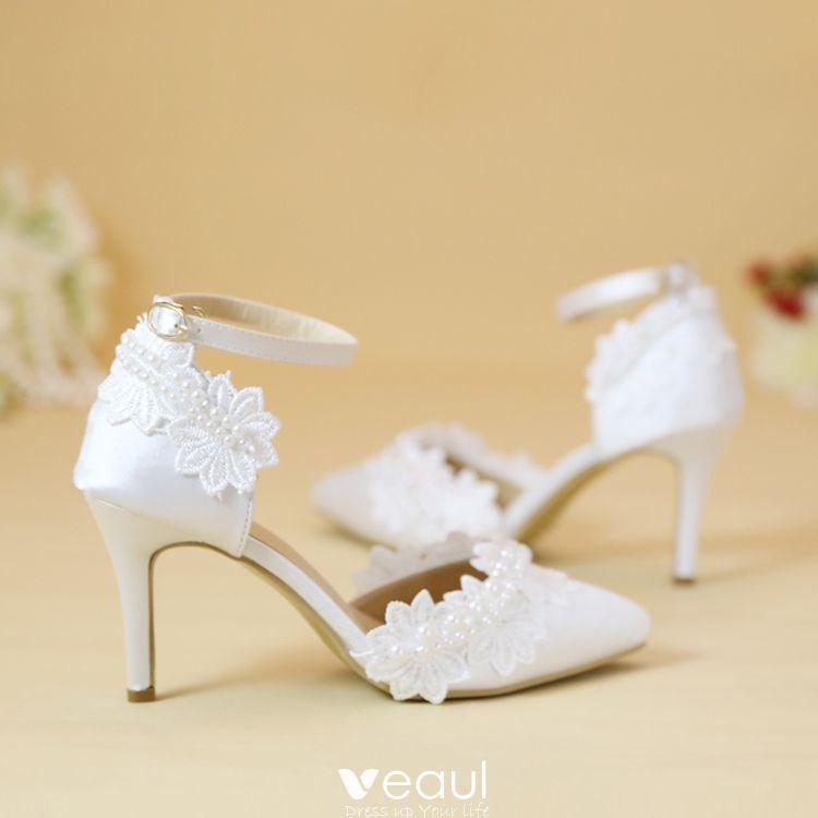 Chic / Beautiful 2017 8 cm / 3 inch White Casual Church Outdoor / Garden Lace PU Pearl Rhinestone High Heels Stiletto Heels Pumps Wedding Shoes