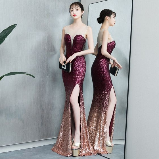 Sparkly Gradient-Color Evening Dresses  2019 Trumpet / Mermaid Sequins Scoop Neck Sleeveless Split Front Floor-Length / Long Formal Dresses
