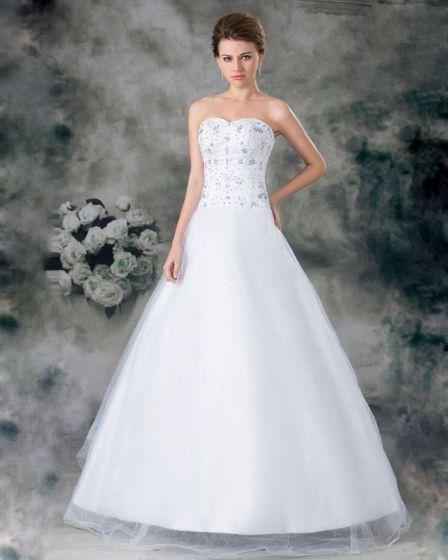 Organza Perles Applique Cherie Longueur De Plancher De La Robe De Mariée En Ligne