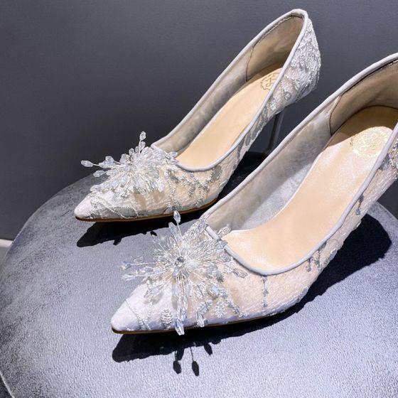Sjarmerende Grå Krystall Brudesko 2020 Blonder 8 cm Stiletthæler Spisse Bryllup Pumps