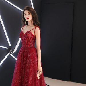 Charming Burgundy Evening Dresses  2019 A-Line / Princess Spaghetti Straps Bow Sequins Sleeveless Backless Floor-Length / Long Formal Dresses
