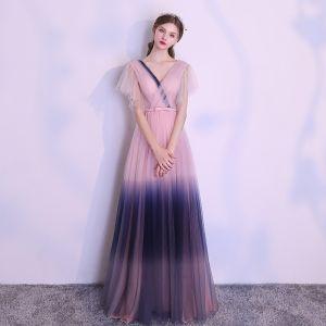 Unique Rosa Farbverlauf Marineblau Abendkleider 2018 A Linie V-Ausschnitt Kurze Ärmel Schleife Stoffgürtel Lange Rüschen Rückenfreies Festliche Kleider
