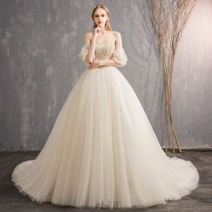 Luxury / Gorgeous Champagne Wedding Dresses 2018 Ball Gown Sweetheart Detachable Short Sleeve Backless Pearl Beading Ruffle Cathedral Train