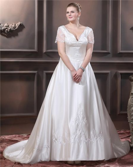 Sweetheart Short Sleeve Sweep Satin Embroidery Large Size Wedding Dress
