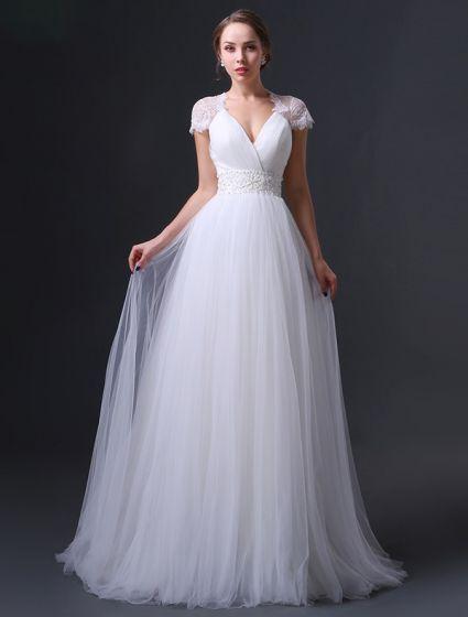 2015 Reich Schultern V-ausschnitt Sicke Schärpe Rüschen Hochzeitskleid