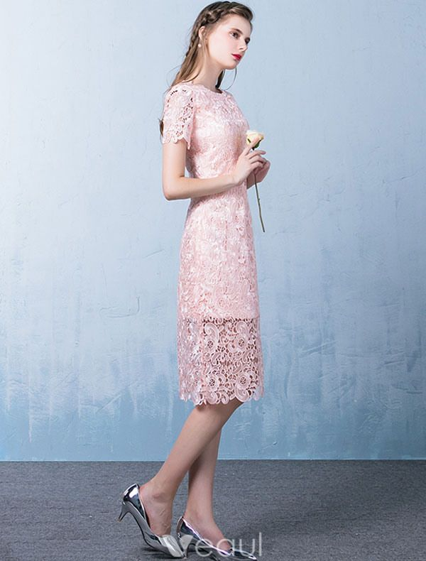 Elegant Pink Cocktail Dress Short Sleeves Lace Party Dress 2017